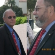 Tom Owings and Michael Geller outside the federal court building where he is under investigation for political corruption